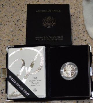 1998 Platinum Eagle 1/4 Ounce $25 Coin Us Ogp photo