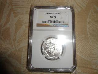 2008 $50 Platinum Eagle Coin Ms70 photo