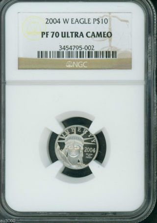 2004 - W $10 Platinum Eagle 1/10 Oz.  Ngc Pf70 Proof Pr70 The Key Date photo