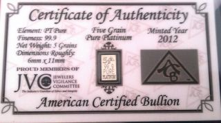 (acb) Platinum Pure 99.  9 Bullion 5grain Pt Bar With Certificate Of Authenticity photo