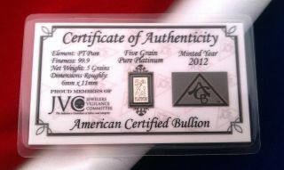 With 99.  9 Pure Pt Acb 5grain Solid Platinum Bullion Minted Bar photo
