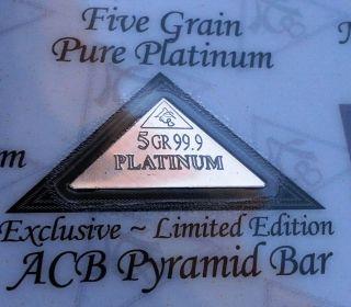 Certificate Acb Pyramid Platinum 5grain Bullion Minted Bar 99.  9 Pure photo