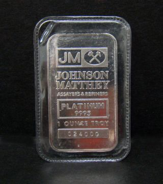 Platinum Bar 1 Oz Johnson Matthey.  9995 photo