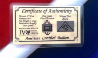 (2 Pack) Of Pt Solid Platinum Bullion Acb Minted 1grain Bar 99.  9 Pure W/ photo