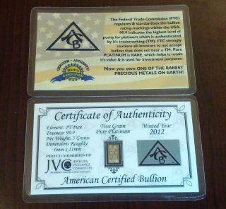 Pure Pt 99.  9 Platinum Acb 5grain Very Rare Professionally Minted Bullion Bar photo