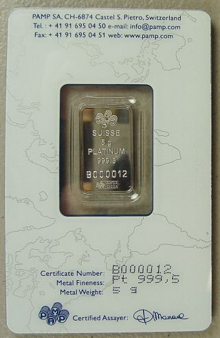 Pamp Suisse 5 Gram.  9995 Platinum Bullion Bar photo