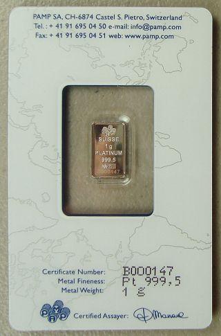Pamp Suisse 1 Gram.  9995 Platinum Bullion Bar photo