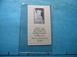 5 Gram Platinum Statue Of Liberty 999.  5 Credit Suisse S/n 019561 photo