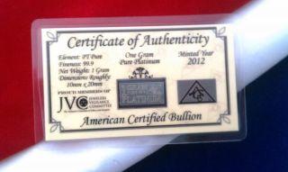 Pt Precious Metal (1) Gram Acb Platinum Solid Bullion Minted Bar 99.  9 Fine photo