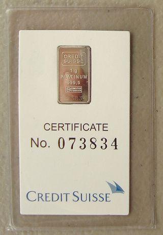 Credit Suisse 1 Gram.  9995 Platinum Bullion Bar photo