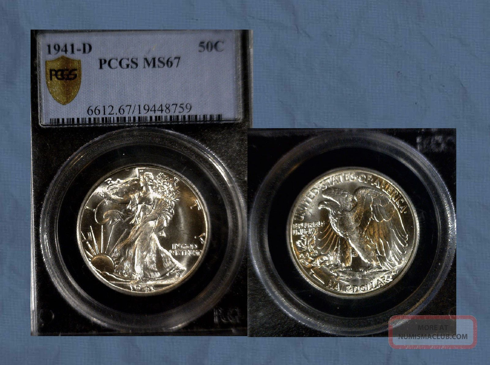 1941 D Walking Liberty 50c Pcgs Certified Ms67 Secure Holder