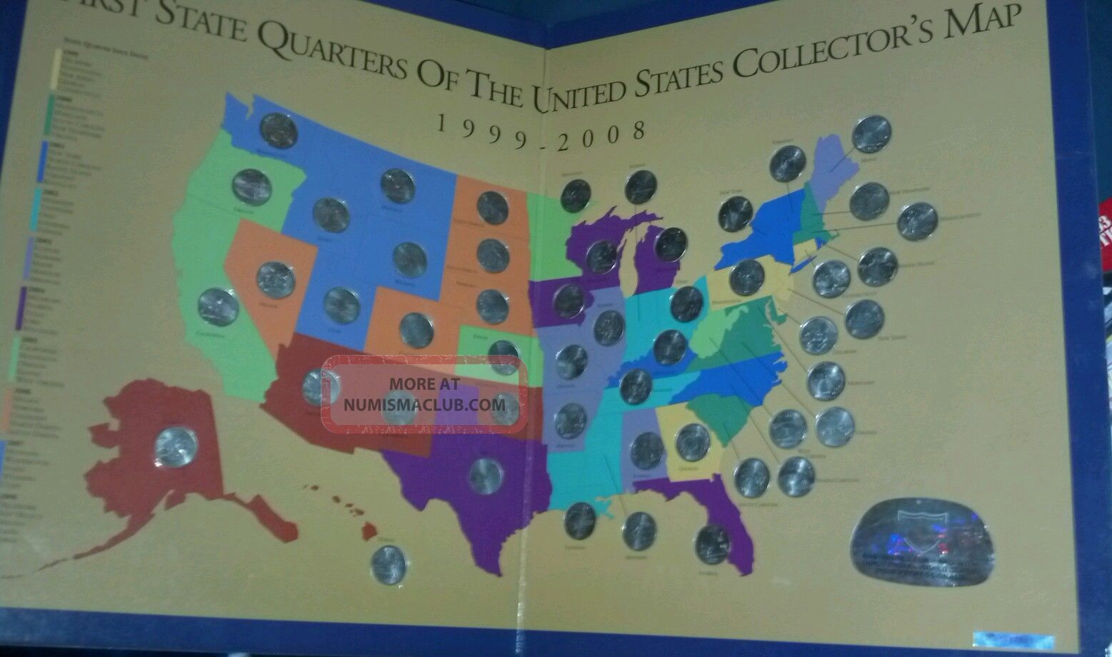 First State Quarters If The United States Collectors Map 1999 2008