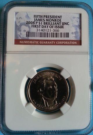 2008 - P James Monroe Preseidential Dollar - Ngc Brilliant Uncirculated $1 photo