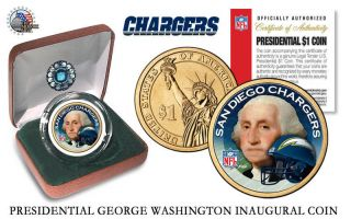 San Diego Chargers Nfl Usa Presidential Dollar Coin - Velvet Box And photo