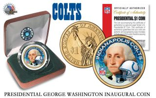 Indianapolis Colts Nfl Us Presidential Dollar Coin Velvet Box And photo