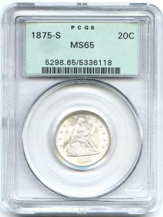 1875 S Pcgs Ms65 20c Seated Liberty Ogh Old Green Holder White Lustrous photo