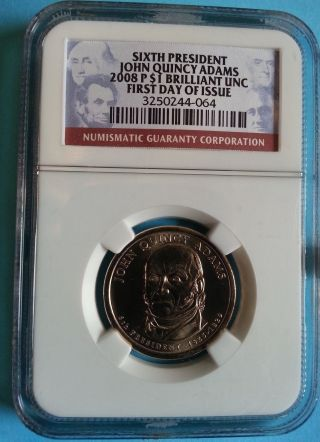 2008 - P John Quincy Adams Preseidential Dollar - Ngc Br.  Unc.  - First Day Of Issue photo