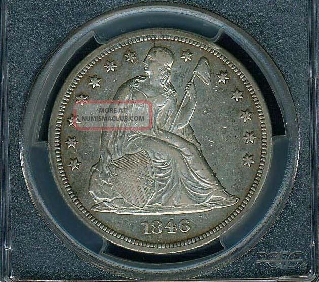 U.  S.  1846 Seated Liberty Silver Dollar,  Extremely Fine,  Pcgs Certified Xf - 40 Dollars photo