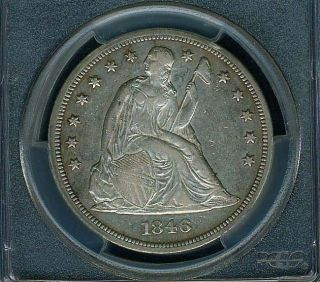 U.  S.  1846 Seated Liberty Silver Dollar,  Extremely Fine,  Pcgs Certified Xf - 40 photo