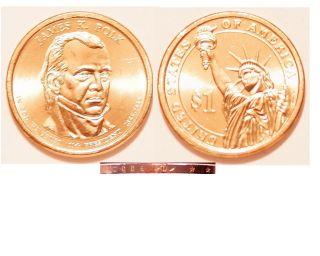 2009 - D $1 James K.  Polk Presidential Dollar Us Coin photo