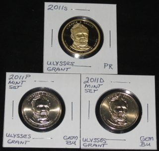 2011s Pres.  Ulysses Grant Proof,  & 2011 P & D Gem Bu Dollars photo
