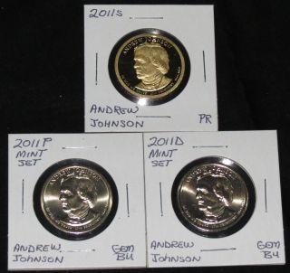 2011s Pres.  Andrew Johnson Proof,  & 2011 P & D Gem Bu Dollars photo