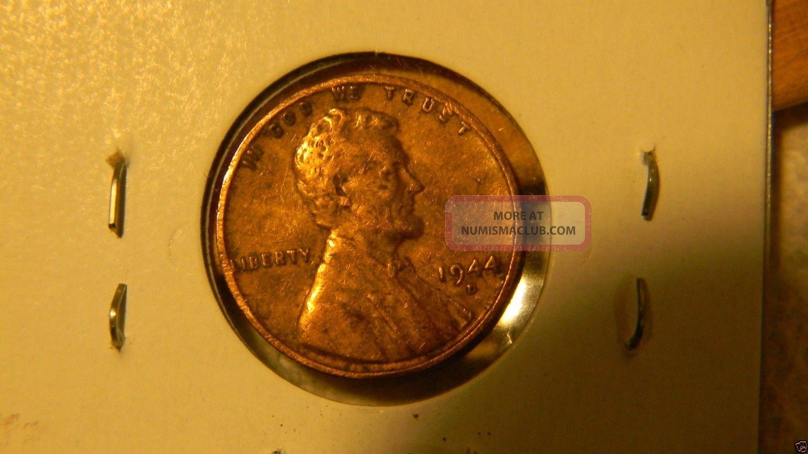 1944 D Us Penny Wheat Cent Split Planchet 90 Blank Back