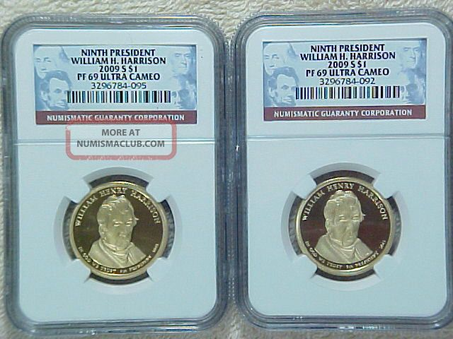 Two 2009 S Proof W H Harrison Presidential Dollars Ngc Graded Pf69 Ultra Cameo Dollars photo