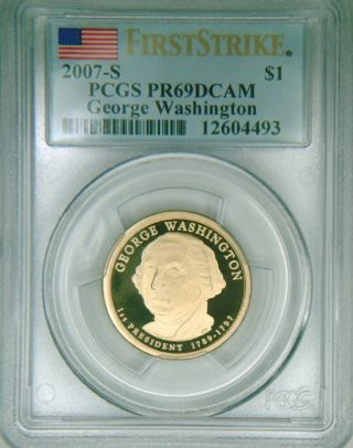2007 - S Pcgs Pr69dcam Proof Washington Dollar 1st Strike photo