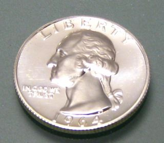 1964 Washington Proof U.  S.  Silver Quarter photo