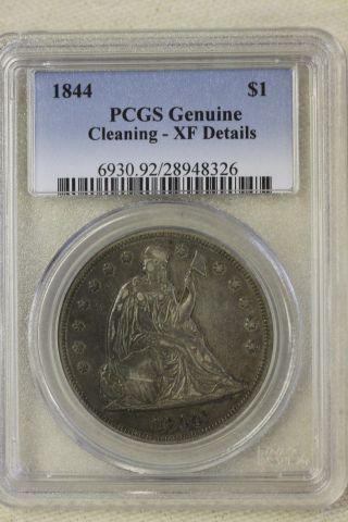 1844 Liberty Seated Dollar Rare Date photo