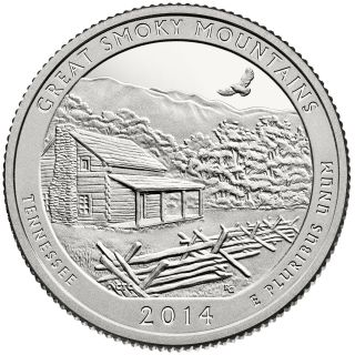 2014 S Proof State Park Quarter Smokey Mountains Tenn Deep photo