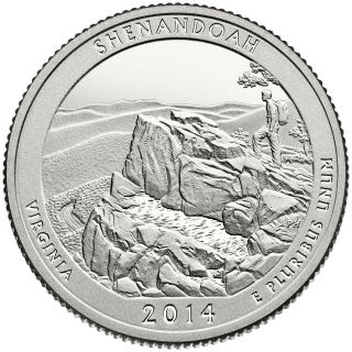 2014 S Proof State Park Quarter Shenandoah Va Deep Cameo photo