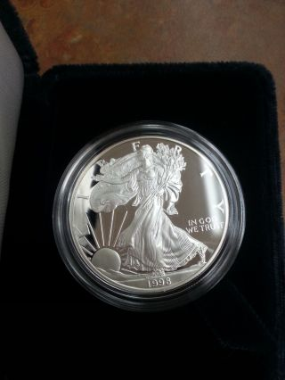 American Eagle One Ounce Proof Silver Bullion Coin 1998 Philidelphia photo