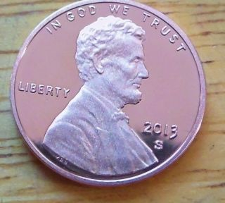 2013 S Gem Cameo Proof Red Lincoln Shield Cent. . photo
