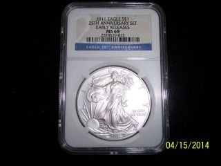 $1 Silver Eagle 25th Ann Ms69 photo