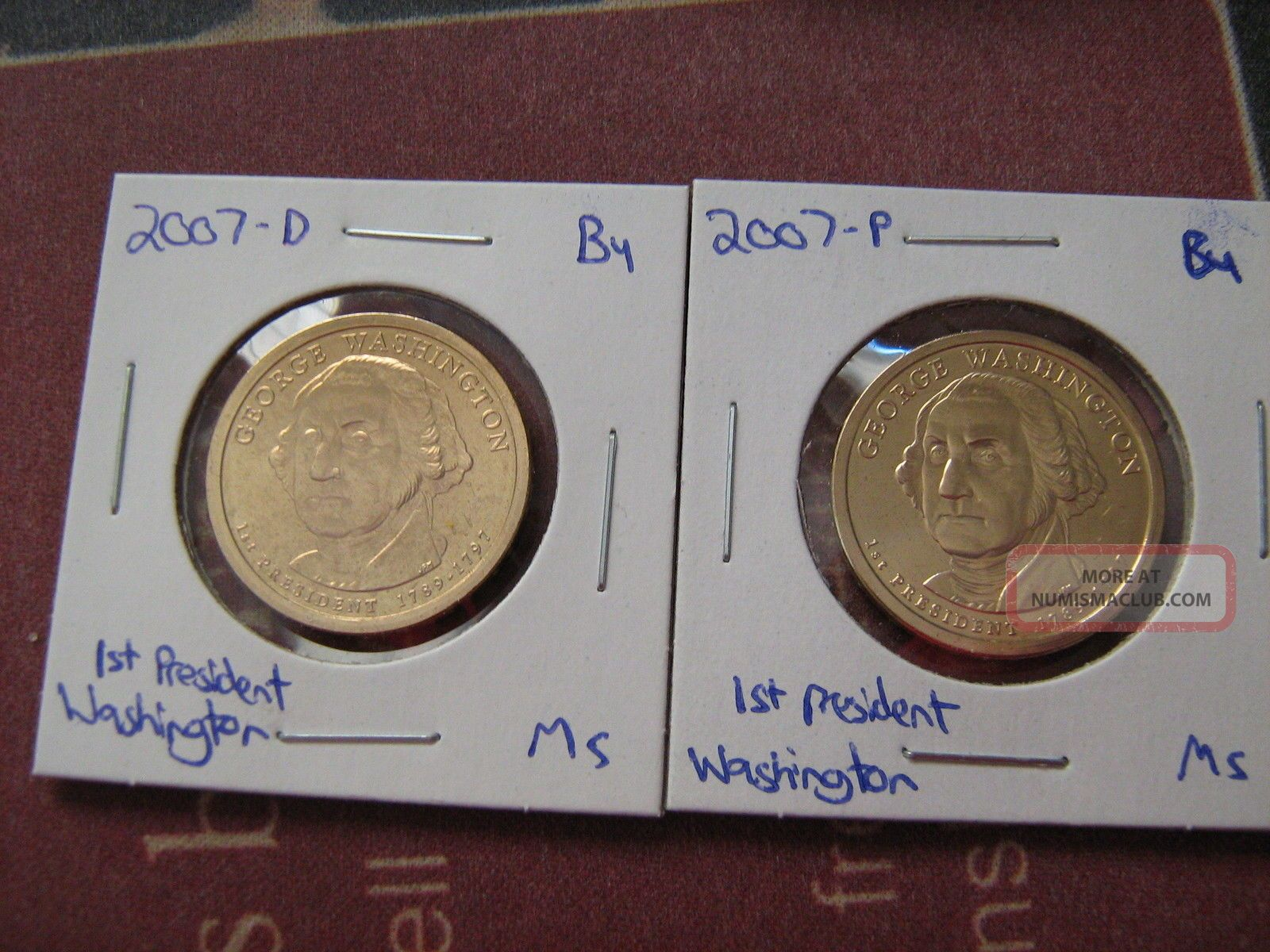 2007 - Pd 1st President George Washington Satin Finish Golden Dollars Dollars photo