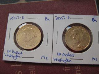 2007 - Pd 1st President George Washington Satin Finish Golden Dollars photo
