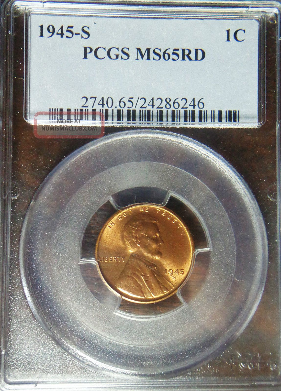 1945 - S Lincoln Cent Wheat Cent Pcgs Ms - 65 Rd 1c Red Wheat Penny