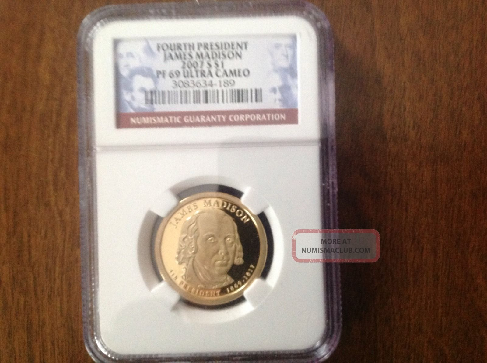 2007 S $1 James Madison Pf 69 Ultra Cameo Ngc Fourth President Dollars photo