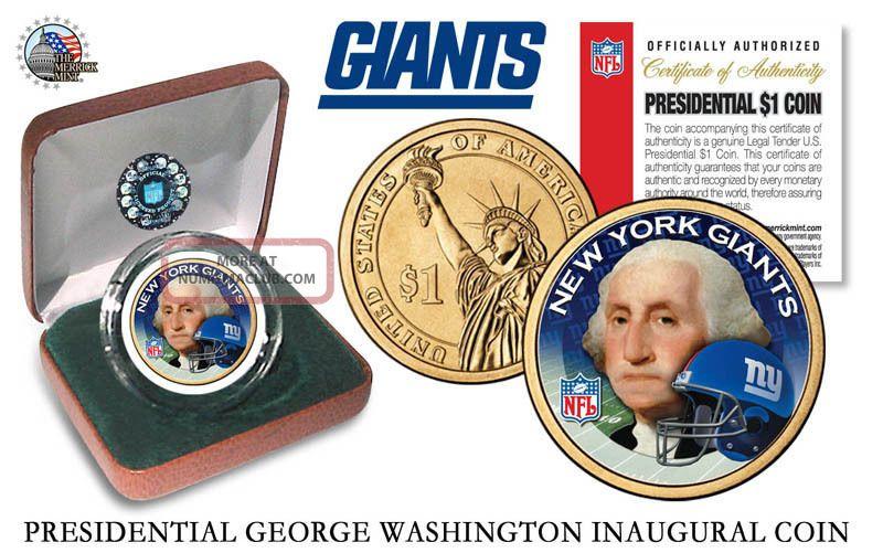 York Giants Nfl Us Presidential Dollar Coin,  W Velvet Box And Dollars photo
