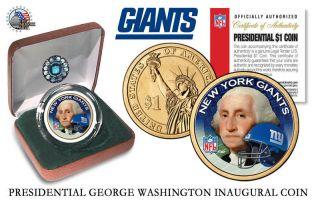 York Giants Nfl Us Presidential Dollar Coin,  W Velvet Box And photo
