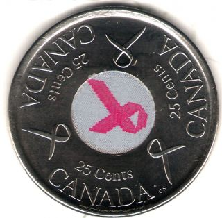 2006 - P Canada Uncirculated 25 Cents Commemorative Pink Ribbon Breast Cancer photo