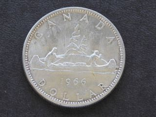 1966 Canada Silver Dollar Canadian Coin A1755l photo