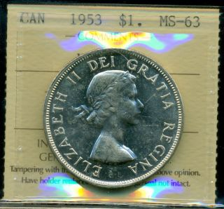 1953 Canada Silver Dollar,  Iccs Certified Ms - 63 Nsf;swl photo