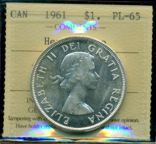 1961 Canada Silver Dollar,  Iccs Certified Pl - 65 Heavy Cameo photo
