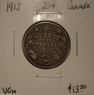 Canada George V 1912 Silver Twenty Five Cents - Vg+ photo