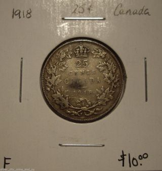 Canada George V 1918 Silver Twenty Five Cents - F photo