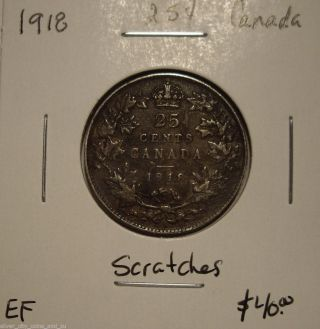Canada George V 1918 Silver Twenty Five Cents - Ef photo