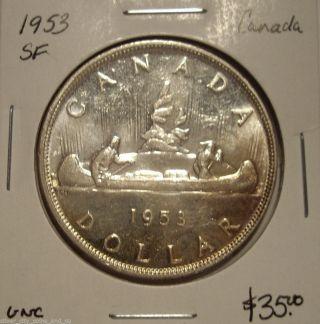 Canada 1953 Sf Elizabeth Ii Silver Dollar - Unc photo